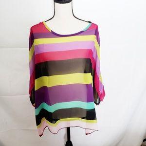 Tops - Striped sheer chiffon high low blouse top pink